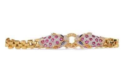 Lot 310 - A SAPPHIRE, RUBY AND DIAMOND PANTHER BRACELET