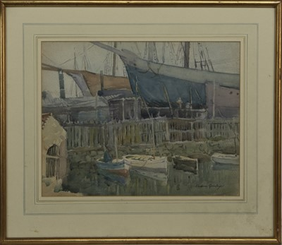 Lot 89 - THE HALL RUSSELL BOATYARD, ABERDEEN,  A WATERCOLOUR BY ANDREW ARCHER GAMLEY
