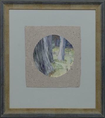 Lot 482 - TREE TRUNKS, A GOUACHE BY BRENDA LENAGHAN