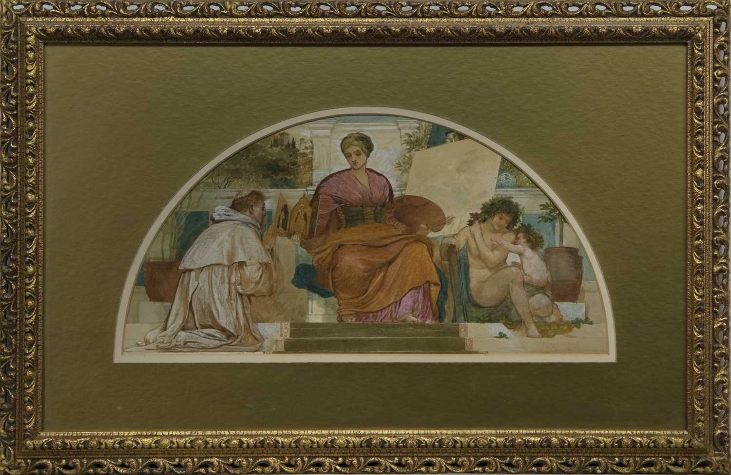 Lot 52 - THE PAINTING LESSON, A WATERCOLOUR ATTRIBUTED TO JOSEPH NOEL PATON
