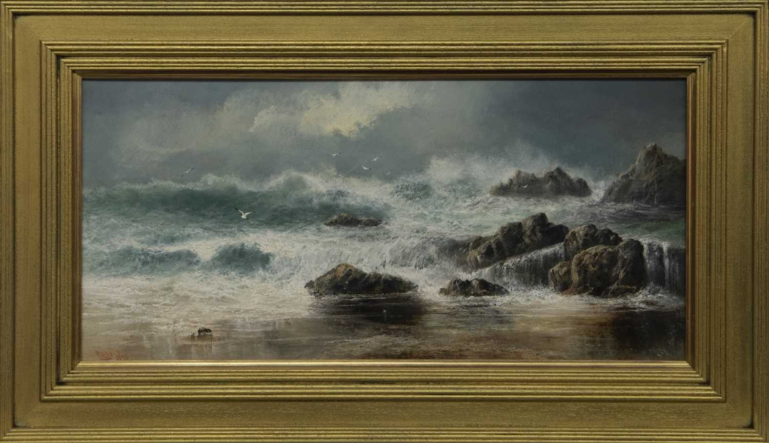 Lot 2014 - STORMY WATERS, AN OIL BY THOMAS MILLIE DOW
