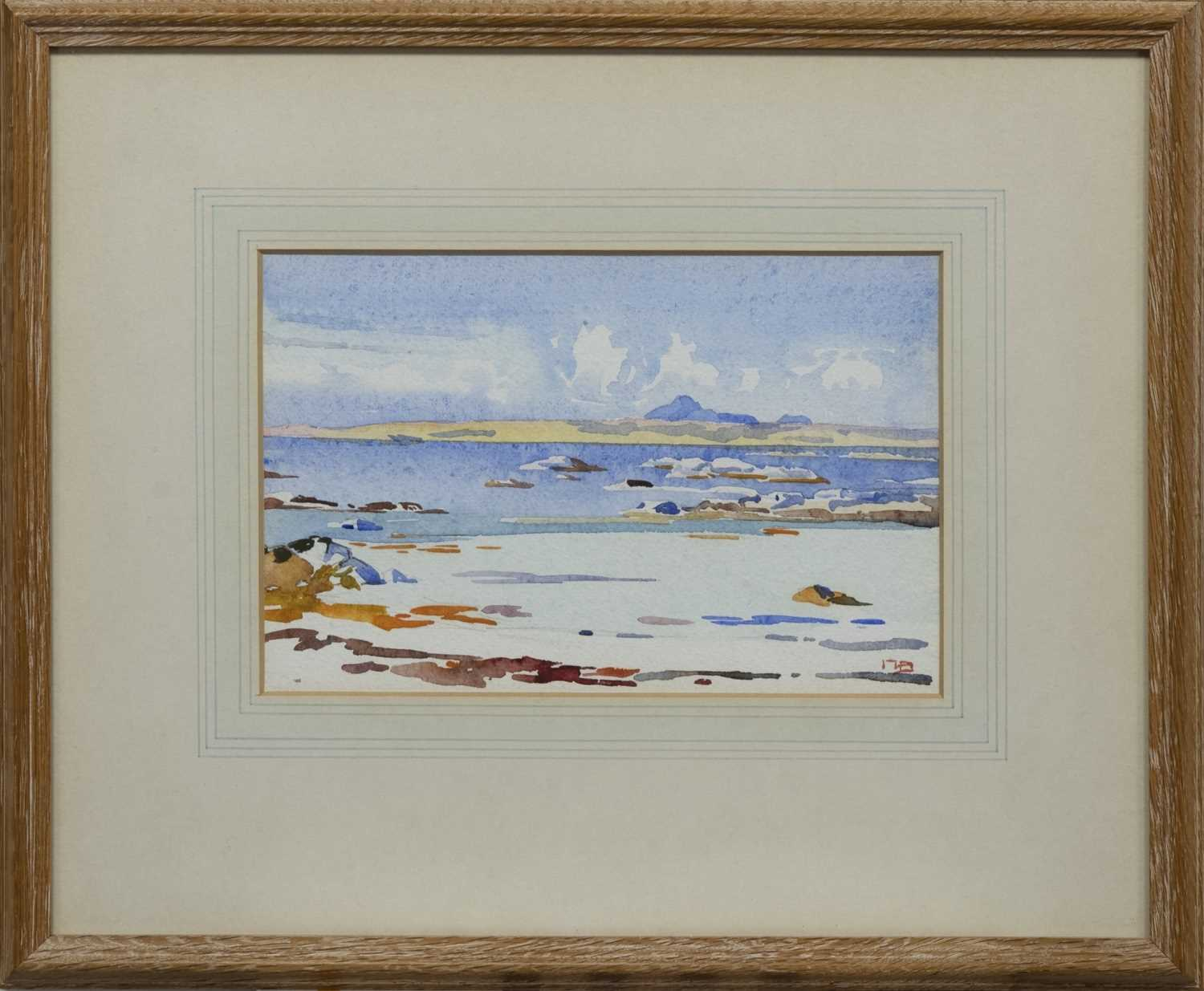 Lot 54 - A NEAP TIDE, IONA, A WATERCOLOUR BY MARY HOLDEN BIRD