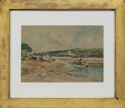 Lot 91 - FISHING ON THE CLYDE, A WATERCOLOUR BY JAMES KAY