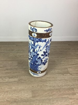 Lot 640 - A LATE 19TH CENTURY CHINESE BLUE AND WHITE STONEWARE STICK STAND
