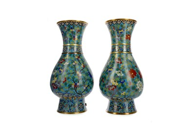 Lot 639 - A PAIR OF LATE 19TH CENTURY CHINESE CLOISONNE VASE