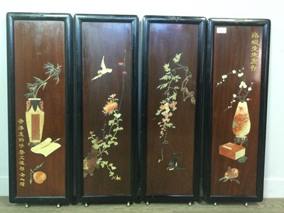 Lot 638 - A SET OF FOUR EARLY 20TH CENTURY CHINESE WOOD PANELS