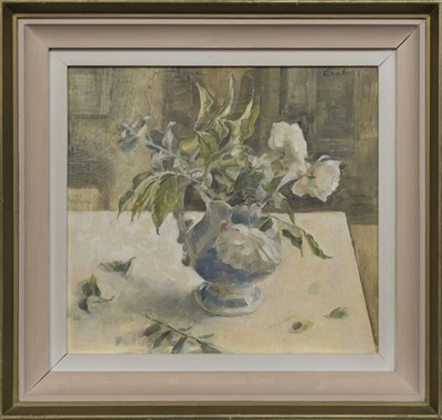 Lot 601 - THREE WHITE ROSES IN A BLUE JUG, AN OIL BY EMILY PATRICK