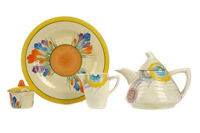 Lot 1101 - A CLARICE CLIFF TEA POT AND CREAM JUG AND OTHER ITEMS