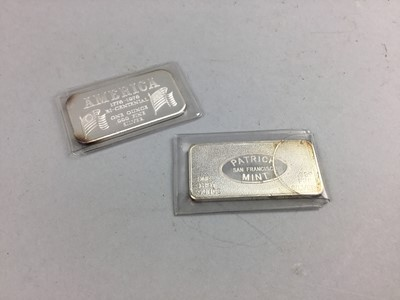 Lot 6 - A PATRICK MINT SILVER ONE OUNCE INGOT AND ANOTHER