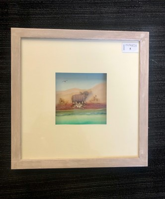 Lot 5 - HIGHLAND COW, A MIXED MEDIA BY SARAH HATTON