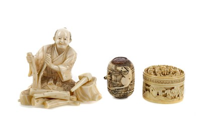 Lot 623 - A JAPANESE IVORY CARVING AND TWO OTHER ITEMS