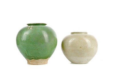 Lot 612 - A CHINESE GREEN GLAZED POTTERY JAR AND ANOTHER