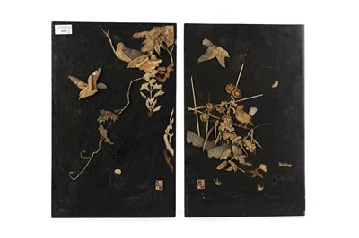 Lot 610 - A PAIR OF EARLY 20TH CENTURY PAIR OF CHINESE WALL PANELS