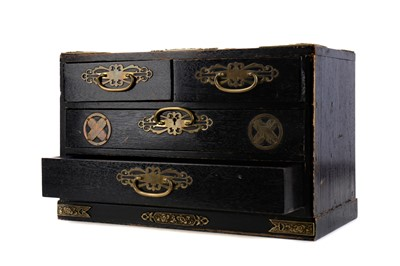 Lot 609 - A MIDDLE EASTERN EBONISED WOOD TABLE CHEST