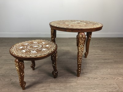 Lot 608 - A SET OF TWO INDIAN CIRCULAR OCCASIONAL TABLES