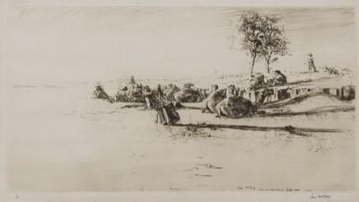 Lot 104 - SUNSET : WADI-UM-MUKHSHEIB, SINAI, AN ETCHING BY JAMES MCBEY