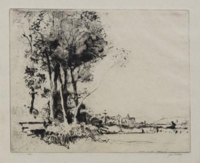 Lot 105 - CARMARTHEN, AN ETCHING BY JAMES MCBEY