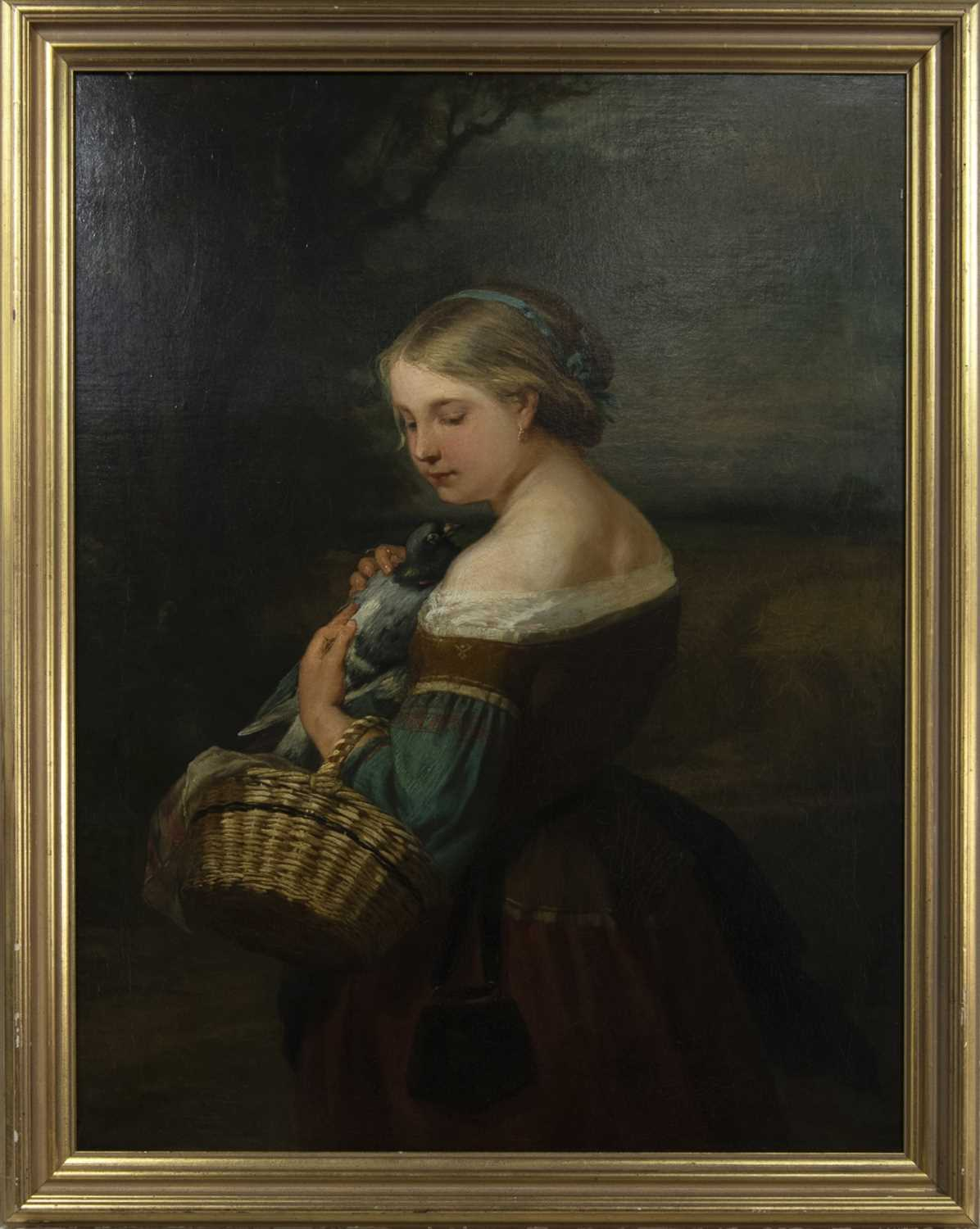 Lot 86 - PORTRAIT OF A PEASANT GIRL WITH A PIGEON, AN OIL BY CARL WAGNER