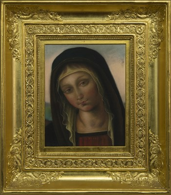 Lot 96 - THE MADONNA, A PASTEL ATTRIBUTED TO FRANCIS WILLIAM TOPHAM