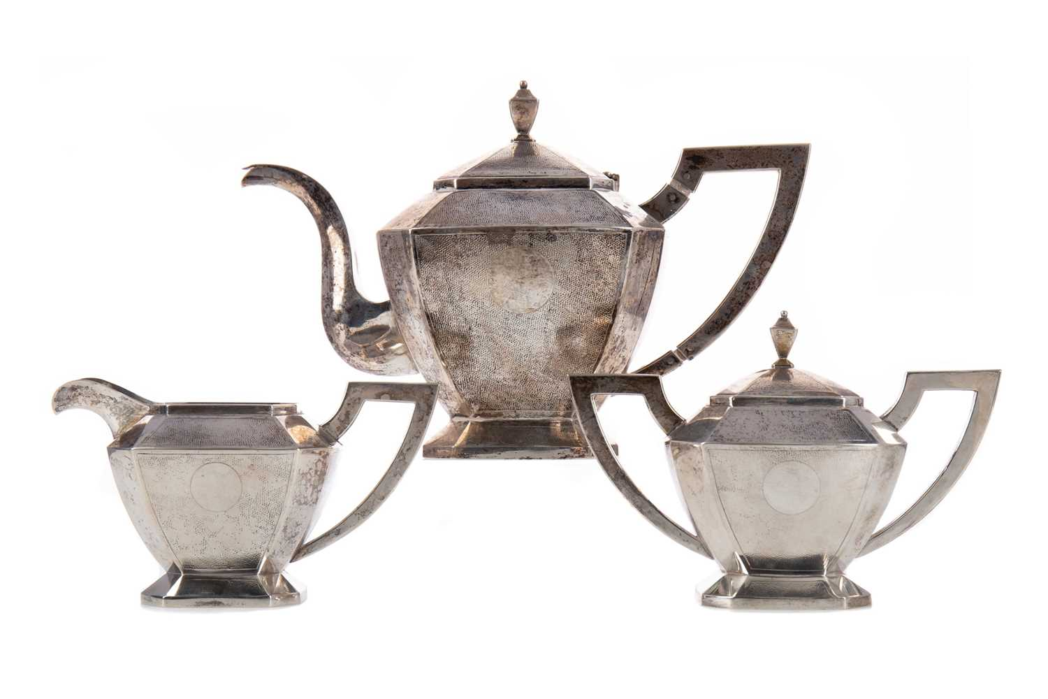 Lot 1649 - A CHINESE SILVER TEA SERVICE