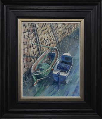 Lot 612 - CRAIL HARBOUR REFLECTIONS, AN OIL BY ERNI UPTON
