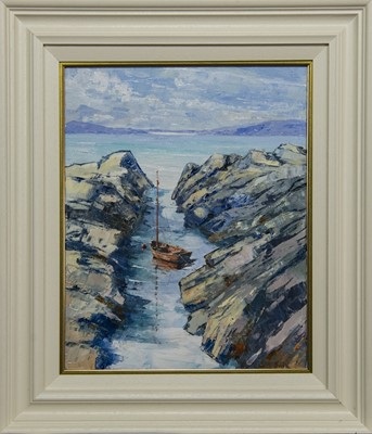 Lot 613 - CLINKER IN THE CLEAR, WEST HEBRIDES, AN OIL BY ERNI UPTON