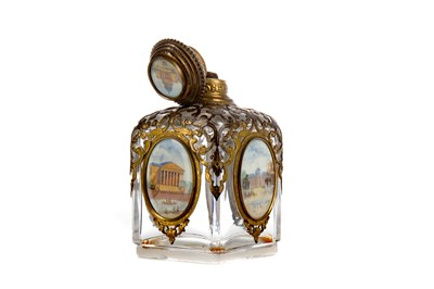 Lot 1743 - A MID 19TH CENTURY GLASS AND GILT METAL SCENT BOTTLE