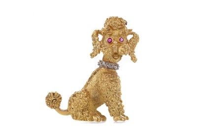 Lot 317 - RUBY AND DIAMOND SET POODLE BROOCH