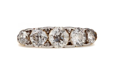 Lot 309 - A VICTORIAN DIAMOND FIVE STONE RING