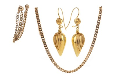 Lot 345 - TWO PAIRS OF EARRINGS AND A GOLD CHAIN