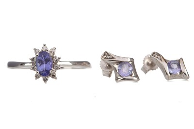 Lot 372 - TANZANITE FLOWER CLUSTER RING ALONG WITH A PAIR OF GEM SET EARRINGS