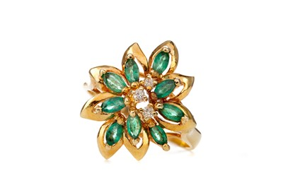 Lot 389 - EMERALD AND DIAMOND CLUSTER RING