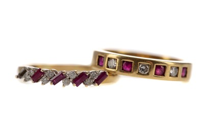 Lot 391 - TWO RUBY AND DIAMOND RINGS
