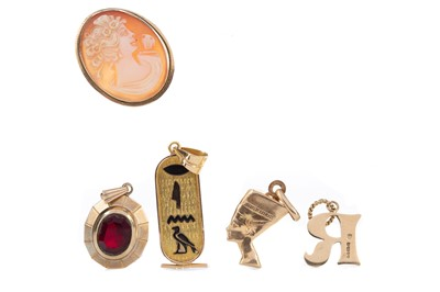 Lot 393 - A COLLECTION OF PENDANTS AND A GOLD CASED WATCH