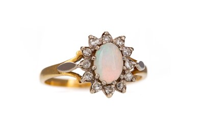 Lot 412 - AN OPAL AND DIAMOND RING