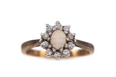 Lot 414 - AN OPAL AND DIAMOND CLUSTER RING
