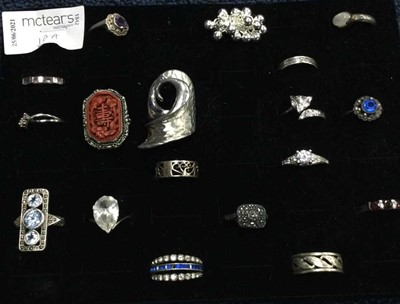 Lot 10A - A COLLECTION OF SILVER GEM SET RINGS
