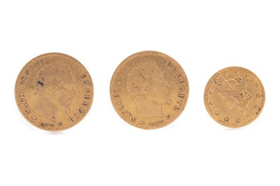 Lot 33 - TWO NAPOLEON III FIVE FRANC COINS AND A GOLD ONE DOLLAR