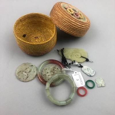 Lot 3 - A GROUP OF CHINESE HARDSTONE BANGLES AND PENDANTS