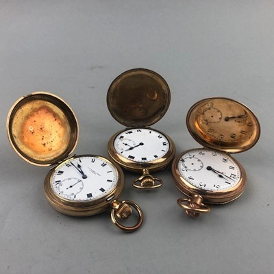 Lot 26 - A LOT OF THREE ROLLED GOLD POCKET WATCHES
