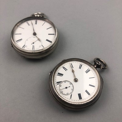 Lot 10 - A LOT OF TWO SILVER POCKET WATCHES