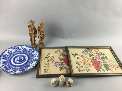 Lot 28 - A LOT OF FIGURAL CARVINGS, PLATES AND PICTURES