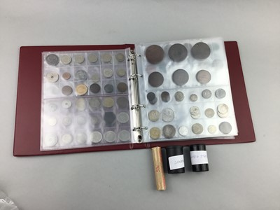 Lot 42 - A COIN ALBUM CONTAINING WORLD, SILVER AND OTHER COINS