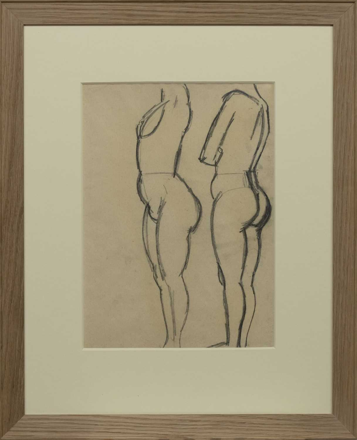Lot 2052 - TWO STANDING NUDES, A SKETCH BY JOHN DUNCAN FERGUSSON