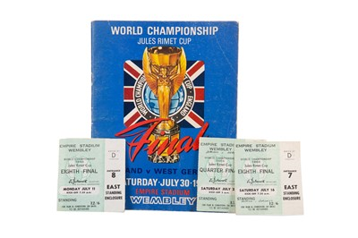 Lot 1729 - AN ENGLAND VS. WEST GERMANY WORLD CUP FINAL PROGRAMME 1966, ALONG WITH FOUR TICKET STUBS