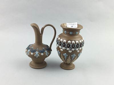 Lot 55 - A LOT OF TWO PAIRS OF STAFFORDSHIRE FLATBACK FIGURES AND OTHER ITEMS