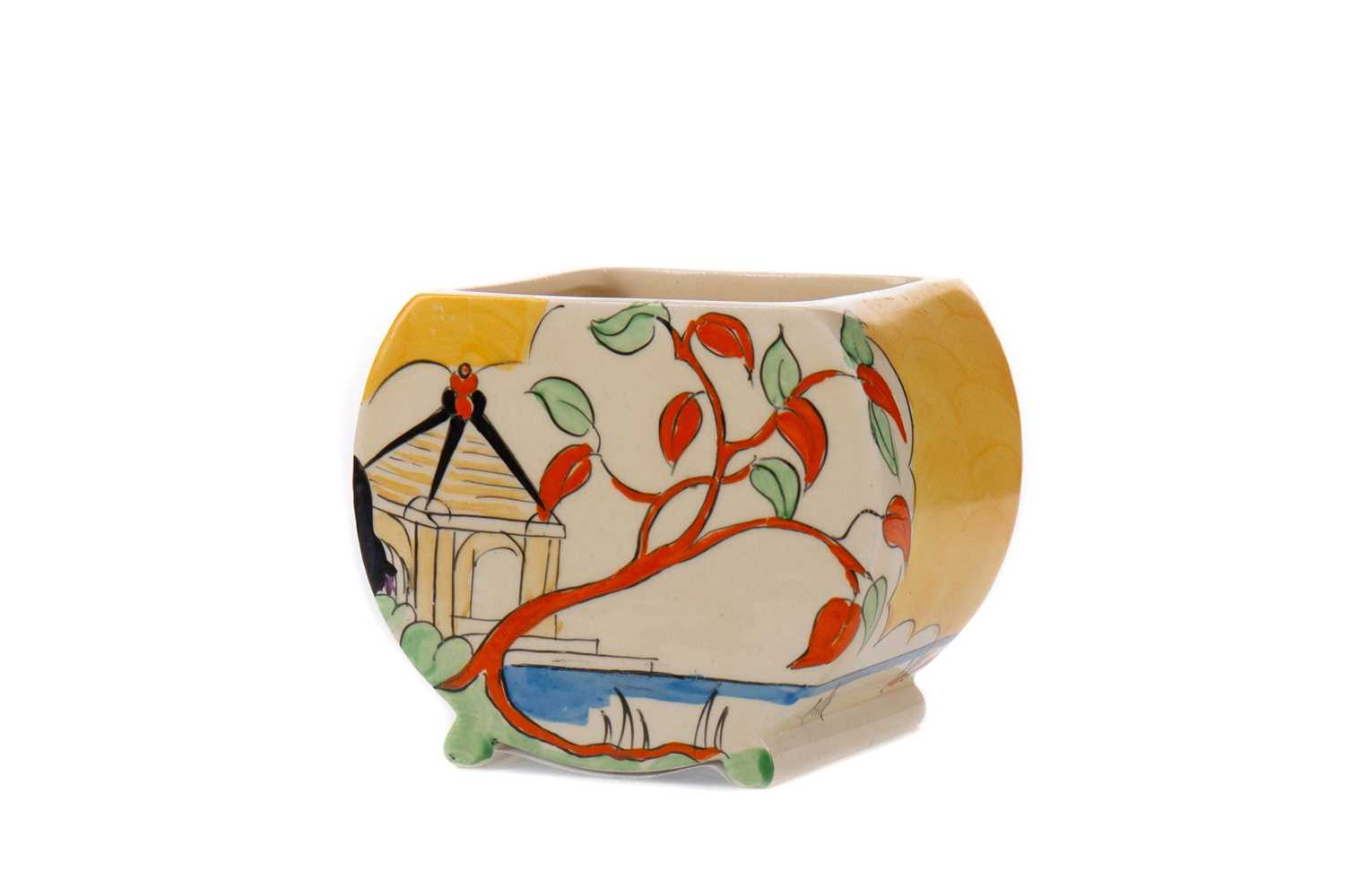 Lot 1006 - A CLARICE CLIFF 'YELLOW JAPAN' PATTERN SUGAR BOWL