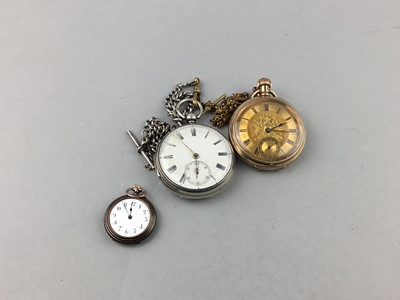 Lot 75 - A VICTORIAN SILVER OPEN FACED POCKET WATCH AND TWO OTHER POCKET WATCHES