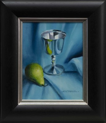 Lot 77 - SILVER GOBLET AND PEAR, AN OIL BY ALASTAIR THOMSON
