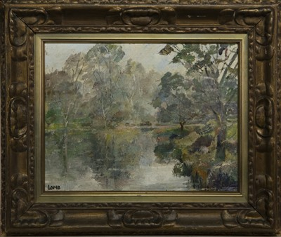 Lot 108 - WOODED RIVER SCENE, AN OIL BY CHARLES VINCENT LAMB